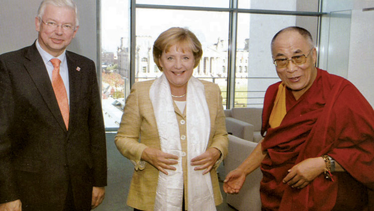 His Holiness the Dalai Lama with Chancellor of Germany Angela Merkel in Berlin, Germany on September 23, 2007.