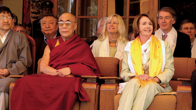 US Speaker of the House Nancy Pelosi visiting His Holiness the Dalai Lama in Dharamsala, HP, India on March 21, 2008. (Photo by Tenzin Choejor/OHHDL)