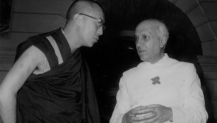 His Holiness the Dalai Lama with Indian Prime Minister Jawaharlal Nehru in New Delhi, India on April 16. 1961.