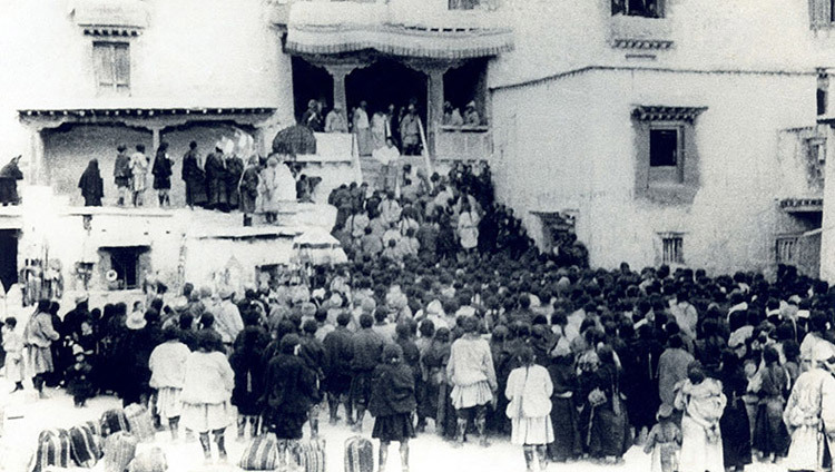 The interim government of Tibet being proclaimed by His Holiness the Dalai Lama at Lhuntse Dzong, Tibet in March of 1959.