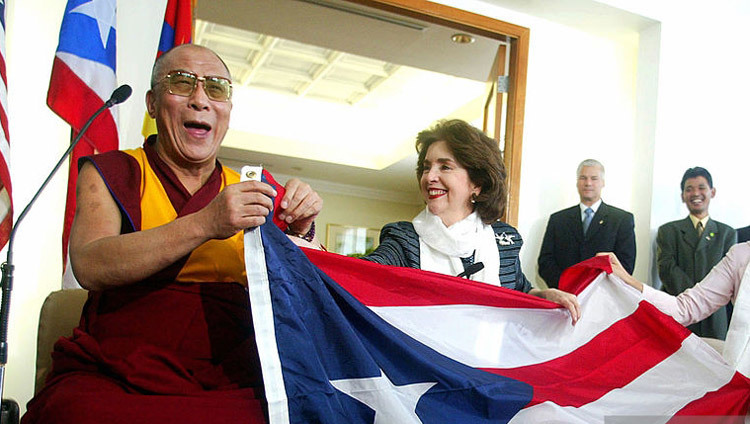His Holiness the Dalai Lama with the Governor of Puerto Rico Sila Calderon in San Juan, Puerto Rico on September 23, 2004.