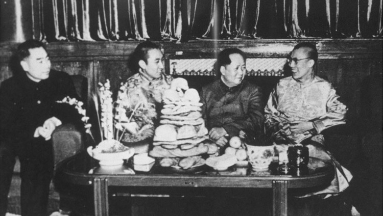 Zhou En-Lai, Panchen Lama, Mao Tse-Tung and His Holiness the Dalai Lama in Beijing, China in 1955. (Photo courtesy Tibet Images)